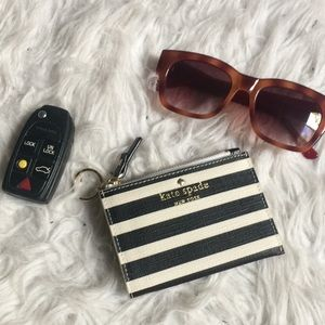 Kate Spade striped card case with key ring